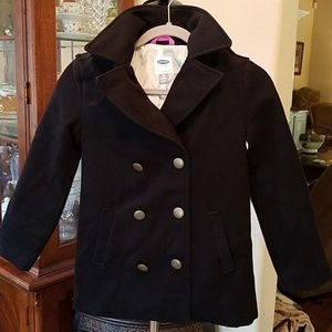 Old Navy Girls Black Double Breasted Pea coat